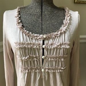 NEW Anthropologie Ric Rac pink crochet lace top M